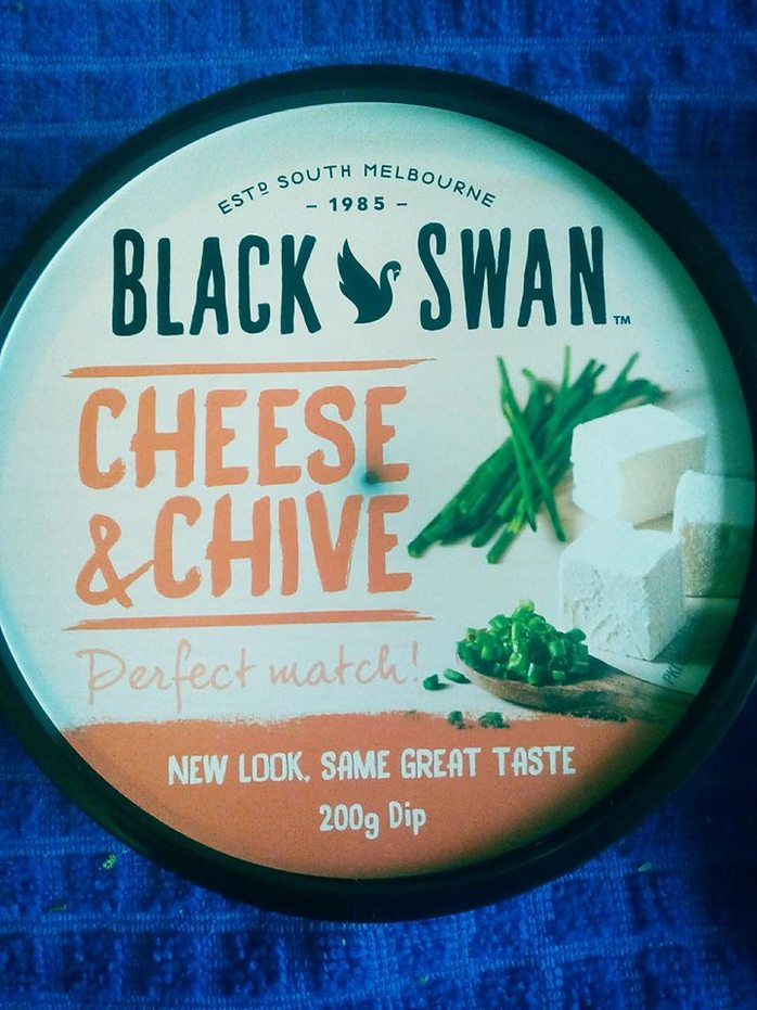 dip, black swan, cheese and chives