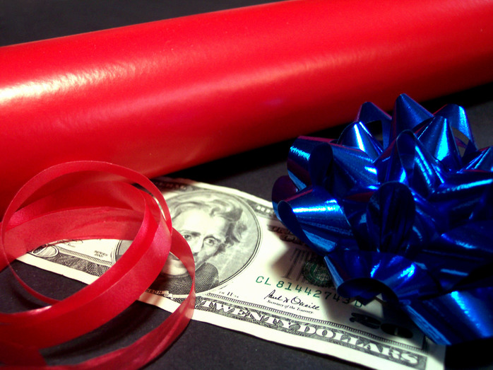 money, bow and wrapping paper
